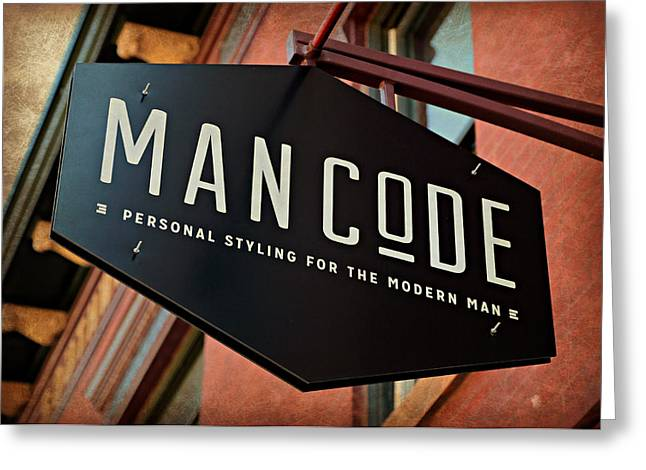 Man Code Greeting Card by Stephen Stookey