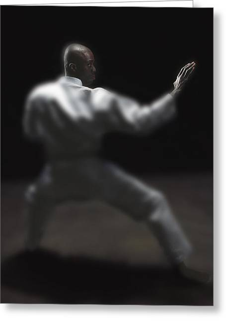 Hostility Greeting Cards - Man Doing Martial Arts Greeting Card by Darren Greenwood