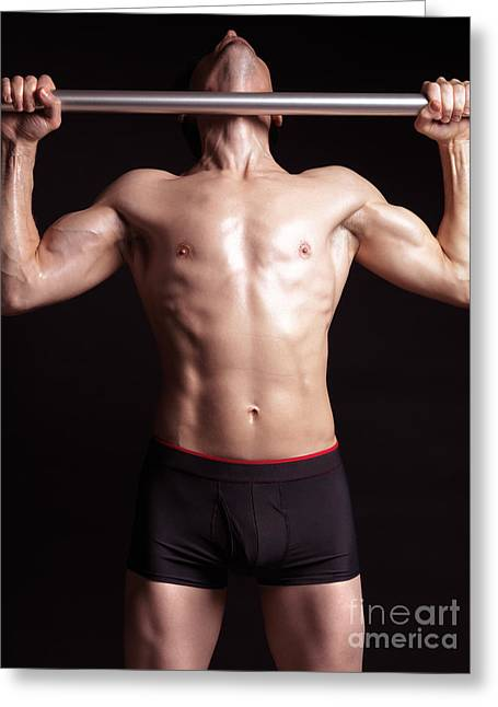 Pull Greeting Cards - Man doing pullups on a pull up bar Greeting Card by Oleksiy Maksymenko