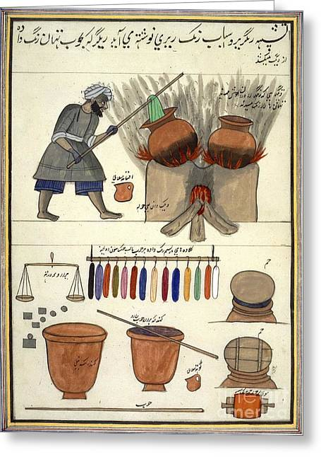 Dyeing Greeting Cards - Man Dyeing Cloth In India, 1850s Greeting Card by British Library