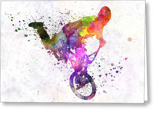 Sports Figures Greeting Cards - Man Exercising Bmx Acrobatic Figure Greeting Card by Pablo Romero