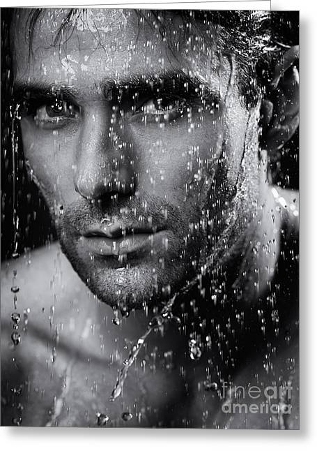 Shower Head Photographs Greeting Cards - Man face wet from water running down it Black and white Greeting Card by Oleksiy Maksymenko