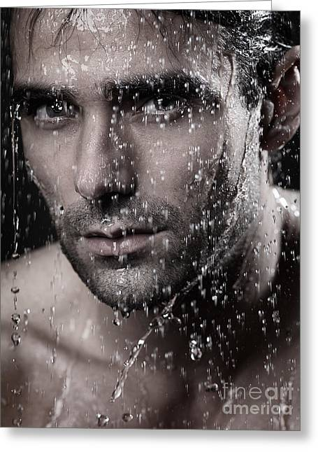 Shower Head Greeting Cards - Man face wet from water running down it Greeting Card by Oleksiy Maksymenko