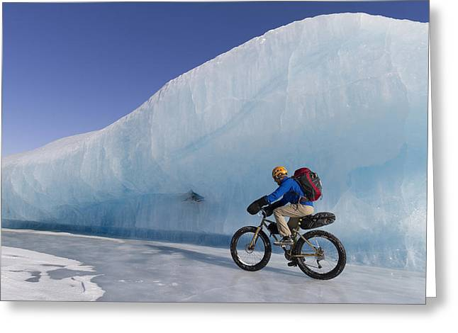 Fat Tire Greeting Cards - Man Fat Tire Mountain Biking On Ice At Greeting Card by Joe Stock