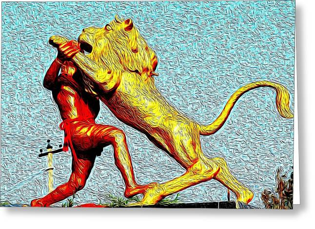 Man Fighting With Lion Bravery Greeting Card by Deepti Chahar