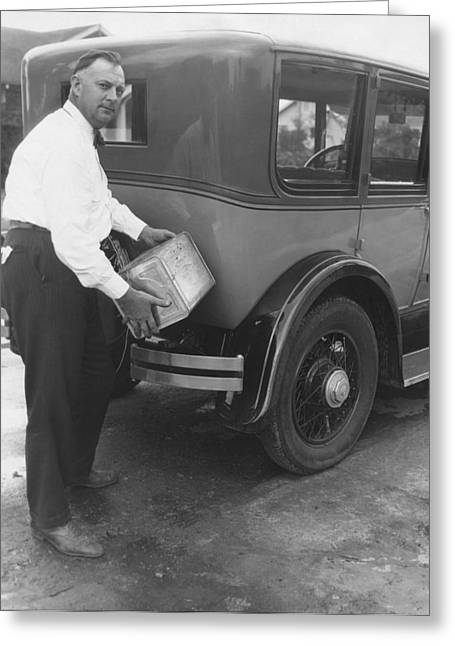 Only Mid Adult Men Greeting Cards - Man Filling Car With Fuel Greeting Card by Underwood Archives