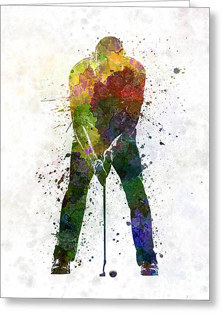 Cut Paintings Greeting Cards - Man Golfer Putting Silhouette Greeting Card by Pablo Romero
