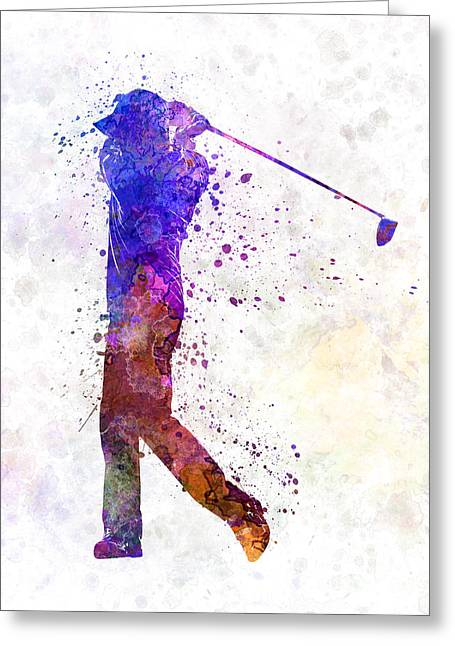 Cut Paintings Greeting Cards - Man Golfer Swing Silhouette Greeting Card by Pablo Romero