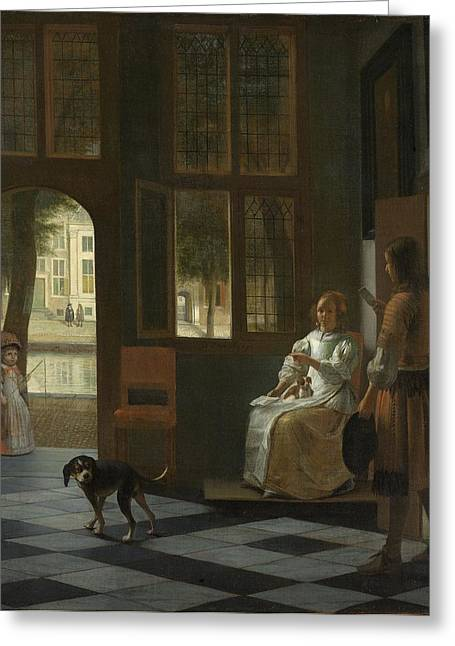 Hooch Greeting Cards - Man Handing a Letter to a Woman in the Entrance Hall of a House Greeting Card by Pieter de Hooch