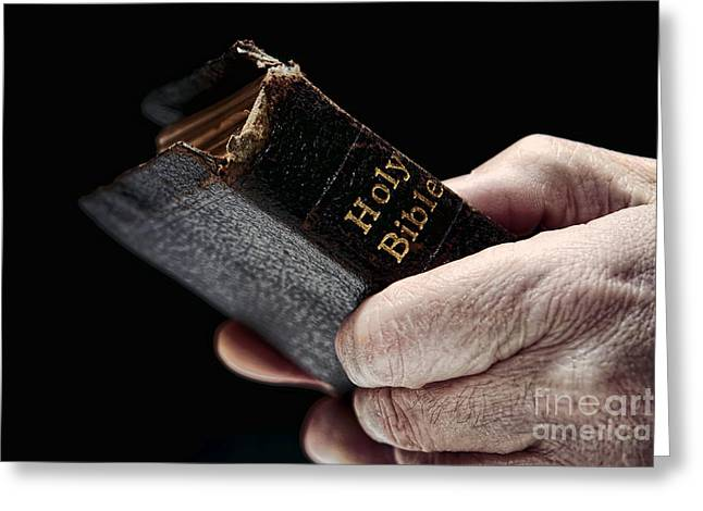 Sacred Greeting Cards - Man Hands Holding Old Bible Greeting Card by Olivier Le Queinec
