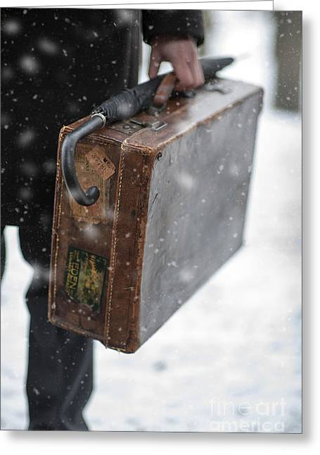 Evacuee Greeting Cards - Man Holding A Vintage Leather Suitcase In Winter Snow Greeting Card by Lee Avison