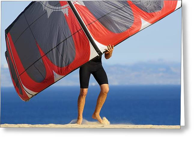 Kite Surfing Greeting Cards - Man Holding Kite For Surfing Costa De Greeting Card by Ben Welsh