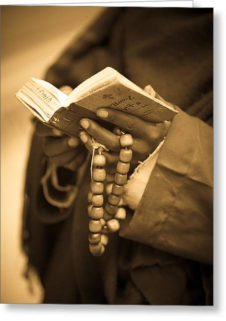 Recently Sold -  - Praying Hands Greeting Cards - Man Holding Prayer Book Ethiopia Greeting Card by David DuChemin