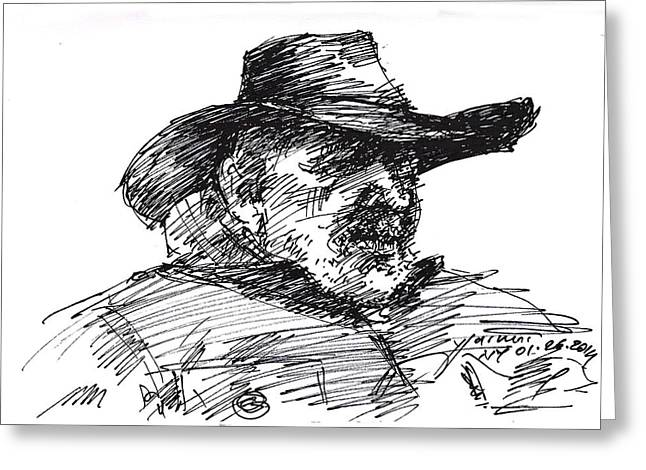 Man In A Cowboy Hat Greeting Card by Ylli Haruni