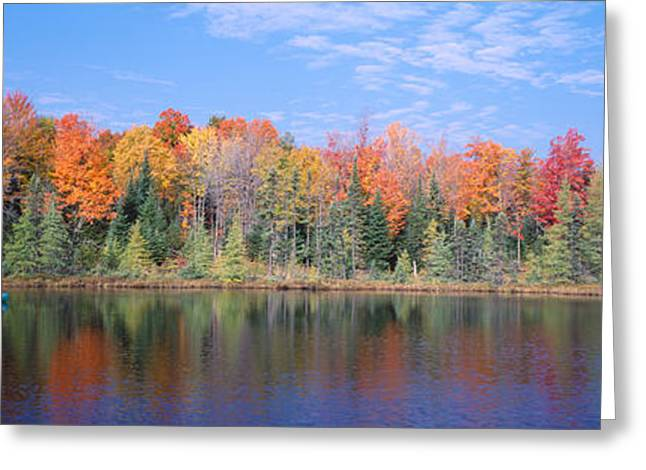 Man In Canoe Nr Antigo Wi Usa Greeting Card by Panoramic Images