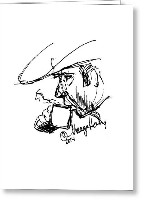 Sideburns Paintings Greeting Cards - Man in Cowboy Hat Sipping Coffee Greeting Card by Meagan Healy