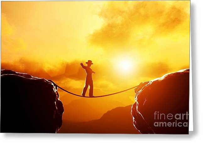 Bravery Greeting Cards - Man in hat walking on rope over mountains Greeting Card by Michal Bednarek