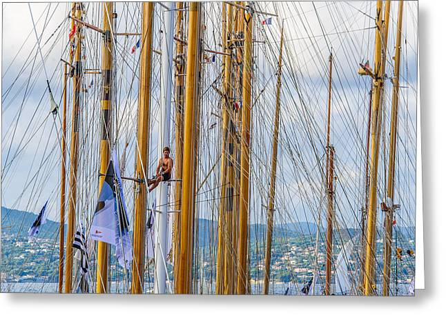 St.tropez Greeting Cards - Who Is The Man In The Mast Greeting Card by Christian Baumgart