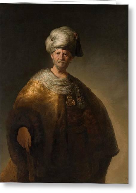Slav Greeting Cards - Man in Oriental Costume Greeting Card by Rembrandt van Rijn