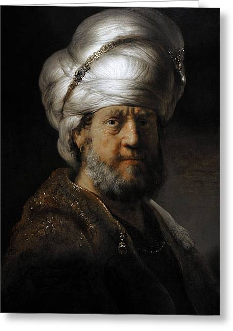 17th Greeting Cards - Man In Oriental Dress, 1635, By Rembrandt 1606-1669 Greeting Card by Bridgeman Images