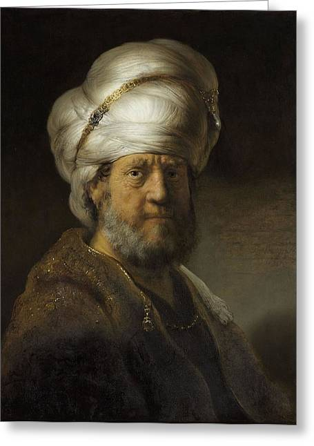 Head And Shoulders Photographs Greeting Cards - Man In Oriental Dress, 1635 Oil On Panel Greeting Card by Rembrandt Harmensz. van Rijn