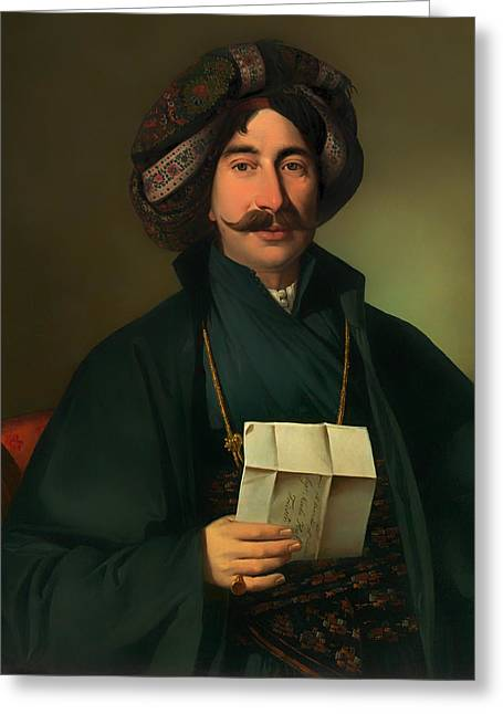 Mustache Greeting Cards - Man in Ottoman Dress Greeting Card by Jozef Tominic