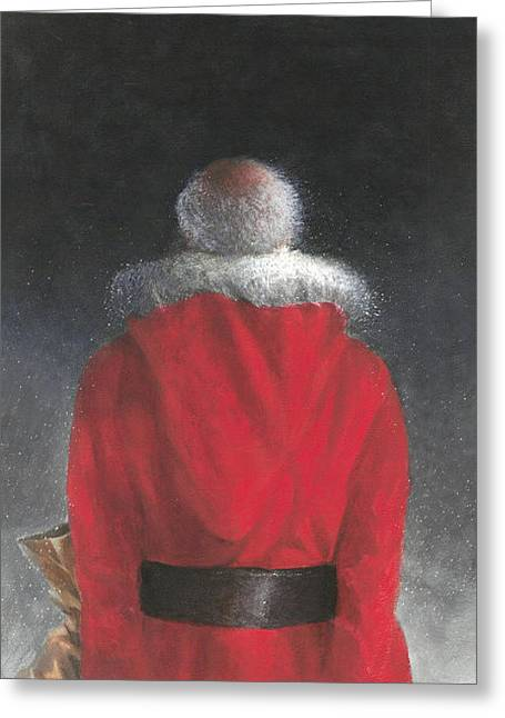 St. Nick Greeting Cards - Man in Red Coat Greeting Card by Lincoln Seligman