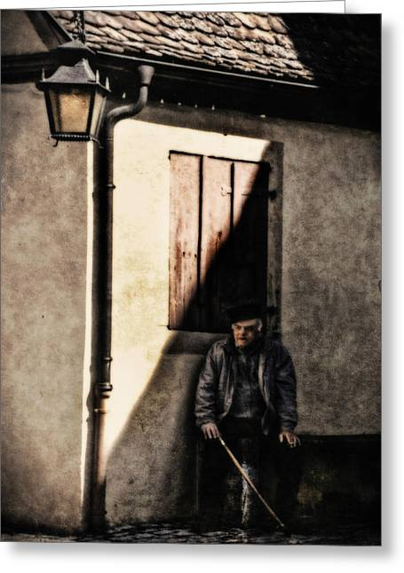 Book Cover Art Greeting Cards - Man in Shadow Greeting Card by Barbara D Richards