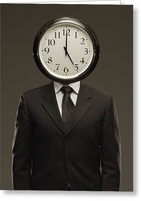 Visual Metaphor Greeting Cards - Man In Suit With Clock Face Greeting Card by Darren Greenwood