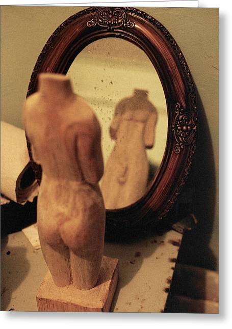 Wide Angled Glass Mirror Greeting Cards - Man in the Mirror Greeting Card by David  Cardona