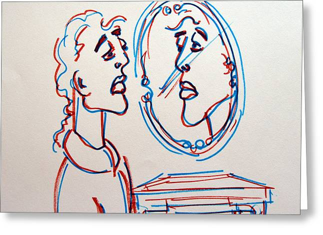 Man In The Mirror Greeting Card by Linda Gail