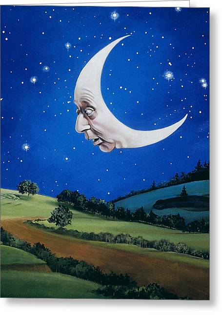 Man In The Moon Paintings Greeting Cards - Man in the Moon Greeting Card by Carol Heyer