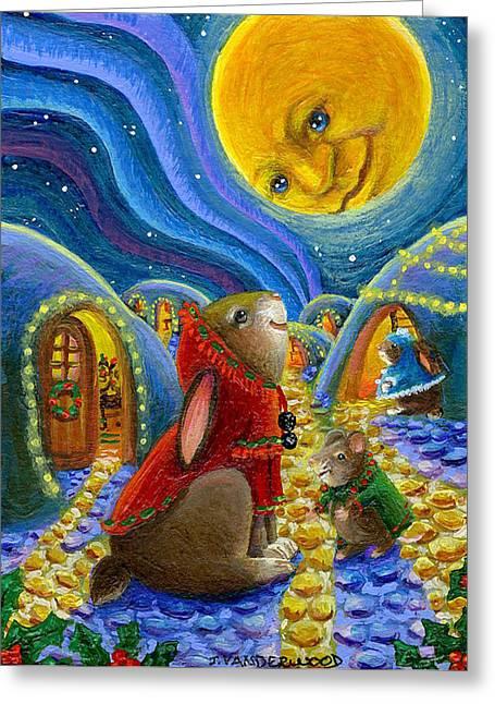 Man In The Moon Paintings Greeting Cards - Man in the Moon Christmas Night Greeting Card by Jacquelin Vanderwood