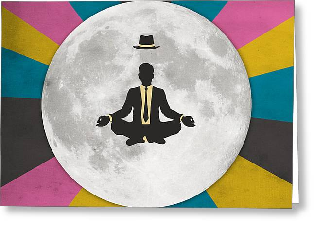 Meditation Digital Greeting Cards - Man In The Moon Greeting Card by Jazzberry Blue