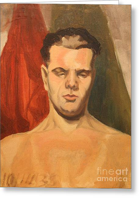 Bare Chested Greeting Cards - Man in Thought 1930s Greeting Card by Art By Tolpo Collection