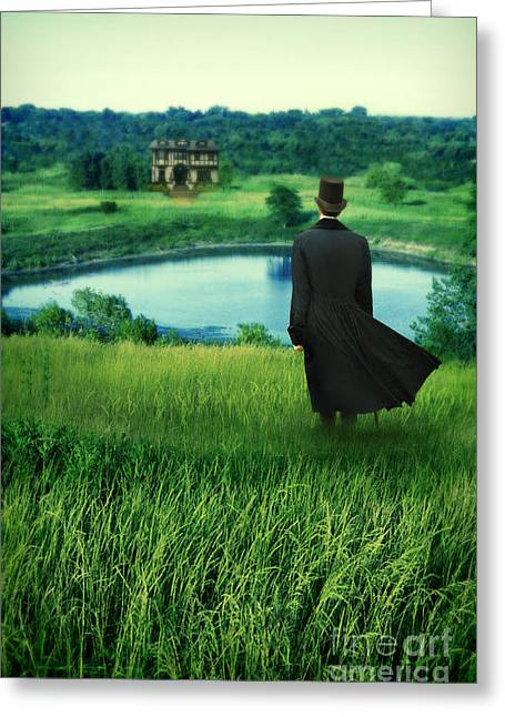 Lake House Greeting Cards - Man in Top Hat on a Hill Greeting Card by Jill Battaglia