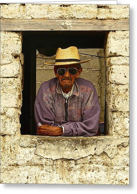 Guatemalan Home Greeting Cards - Man in Window P1070304 Greeting Card by Eye Browses