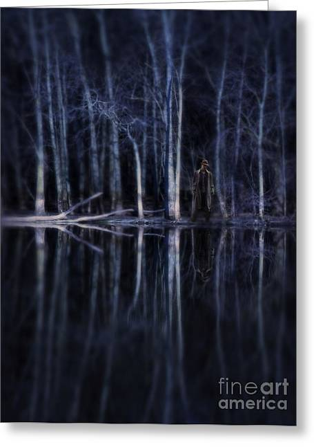 Mid-century Look Greeting Cards - Man in Woods by River Greeting Card by Jill Battaglia