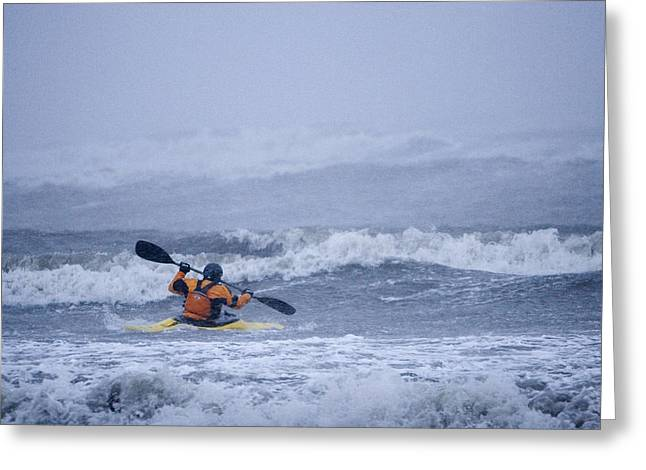 Exciting Surf Greeting Cards - Man Kayak Surfing In Winter Storm Surf Greeting Card by Scott Dickerson