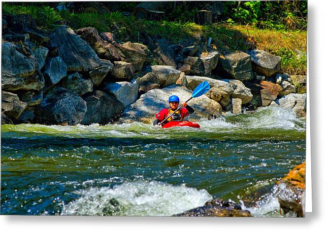 Whitewater Greeting Cards - Man Kayaking In Rapid Water, Ontario Greeting Card by Panoramic Images