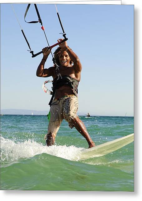 Kite Surfing Greeting Cards - Man Kite Surfing Greeting Card by Ben Welsh