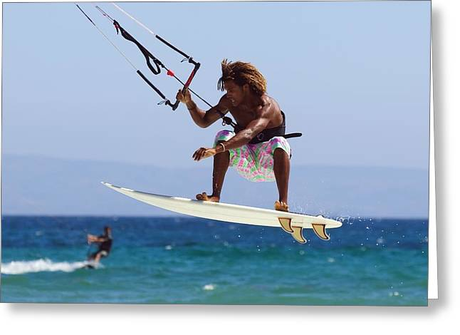 Kite Surfing Greeting Cards - Man Kite Surfing Costa De La Greeting Card by Ben Welsh