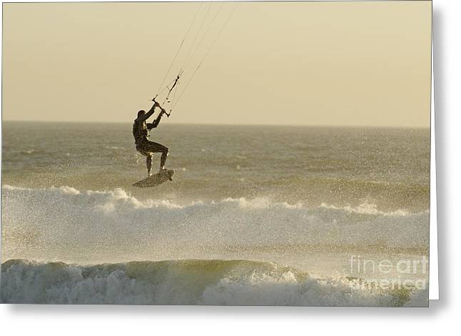 Man Kitesurfing On High Waves Greeting Card by Sami Sarkis