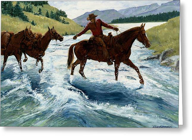 Trail Ride Greeting Cards - Pack Horses Crossing River Greeting Card by Don  Langeneckert