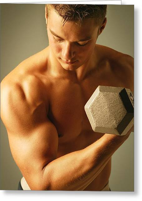 18-19 Years Greeting Cards - Man Lifting Weights Greeting Card by Don Hammond