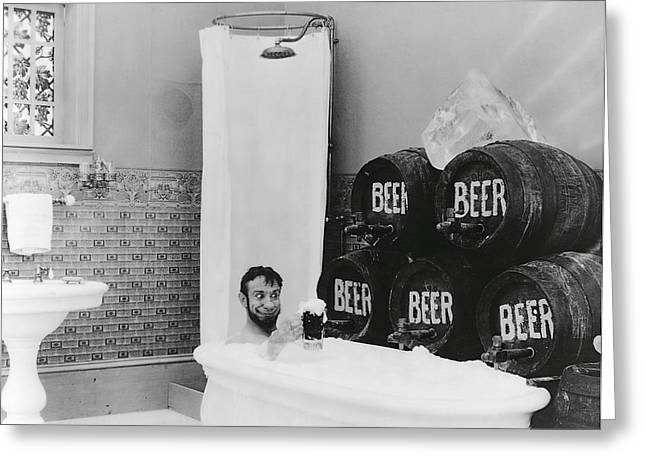 Stein Greeting Cards - Man Loves Cold Beer  1916 Greeting Card by Daniel Hagerman