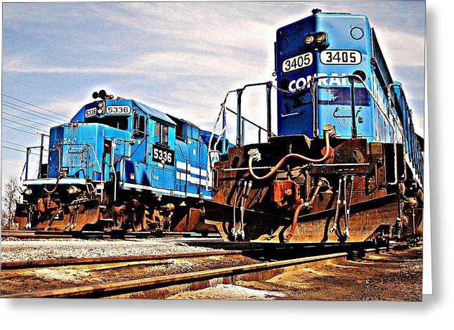 Caboose Greeting Cards - Man Made Clydesdales Greeting Card by Frozen in Time Fine Art Photography