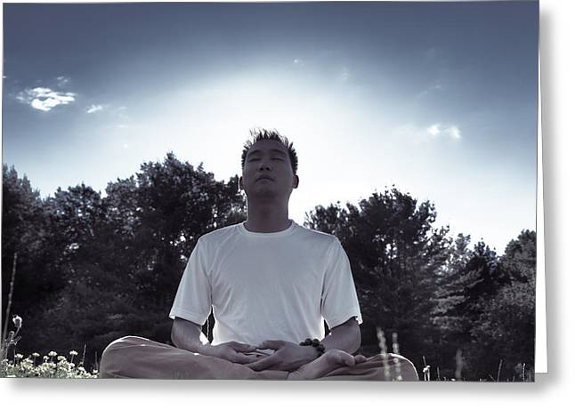 Mid Summer Morning Greeting Cards - Man meditating in the nature during sunrise Greeting Card by Oleksiy Maksymenko