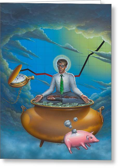 Blank Greeting Cards Greeting Cards - Man Meditating On Pot Of Gold - Time - Art - Illustration - Money - Wallstreet  Greeting Card by Walt Curlee