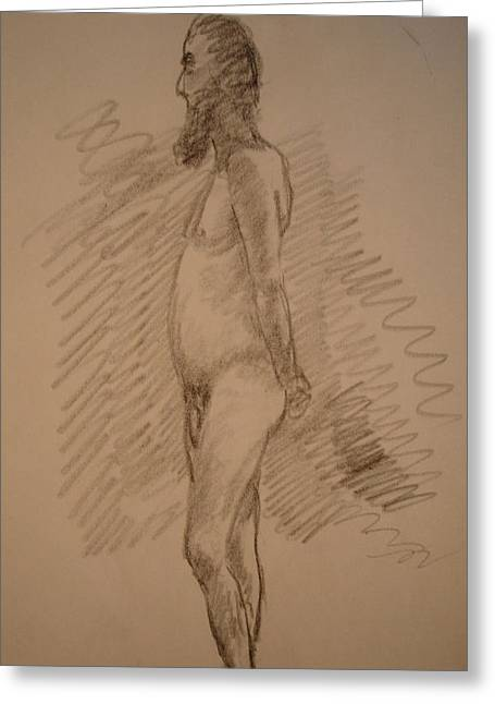 Psycho Drawings Greeting Cards - Man Nude Greeting Card by Genio GgXpress